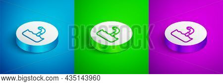 Isometric Line Periscope In The Waves Above The Water Icon Isolated On Blue, Green And Purple Backgr