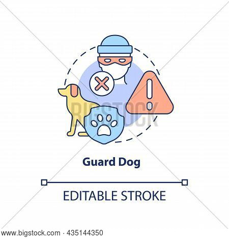Guard Dog Concept Icon. Domestic Animal Abstract Idea Thin Line Illustration. Pet Trained To Protect