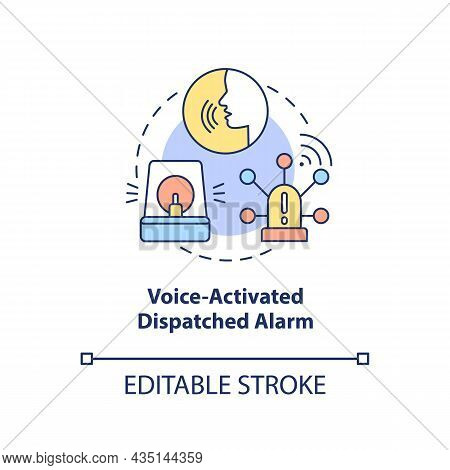 Voice Activated Dispatched Alarm Concept Icon. Alarm System Abstract Idea Thin Line Illustration. Ro