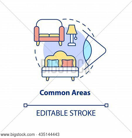 Common Areas Concept Icon. Home Security System Abstract Idea Thin Line Illustration. Install Camera