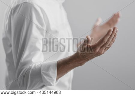 Man Praying Alone Divinity Home . High Quality And Resolution Beautiful Photo Concept