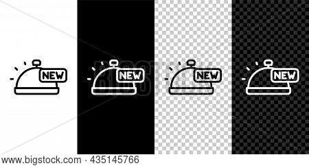 Set Line Covered With A Tray Of Food Icon Isolated On Black And White, Transparent Background. Tray