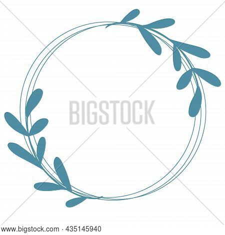 Beautiful Round Wreath With Graceful Elongated Branches With Sheets, Vector Illustration. Circular B