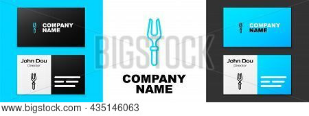 Blue Line Barbecue Fork Icon Isolated On White Background. Bbq Fork Sign. Barbecue And Grill Tool. L