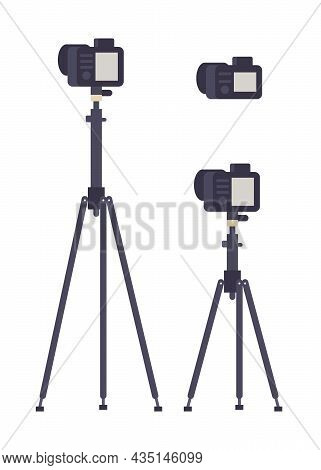 Set Of Different Photo Camera Objects With Screen On High Tripod Isolated. Vector Flat Illustration.