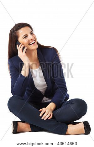 Young Business Woman Sitting Talking On Smartphone