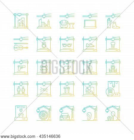 3d Printing Technology Gradient Linear Vector Icons Set. Creating Three Dimensional Objects. Rapid P