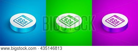 Isometric Line Online Shopping On Screen Icon Isolated On Blue, Green And Purple Background. Concept