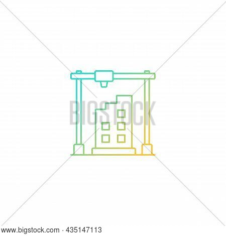 3d Printed Building Design Gradient Linear Vector Icon. Architectural 3d Model. Additively Manufactu