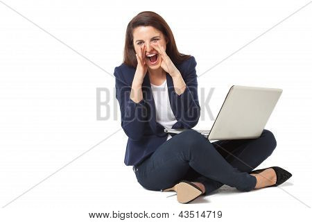 Stressed Young Businesswoman With Laptop