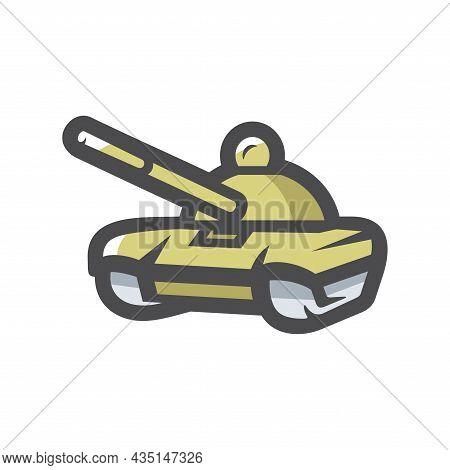 Battle Tank Military Transport Vector Icon Cartoon Illustration.