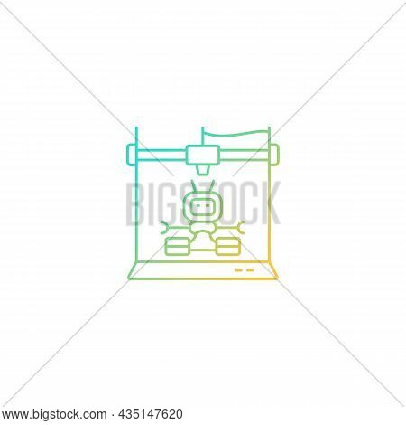 3d Robots Printing Gradient Linear Vector Icon. Robotic Additive Manufacturing. Innovative Robot Bui