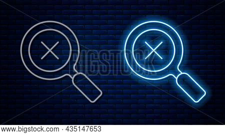 Glowing Neon Line Magnifying Glass And Delete Icon Isolated On Brick Wall Background. Search, Focus,