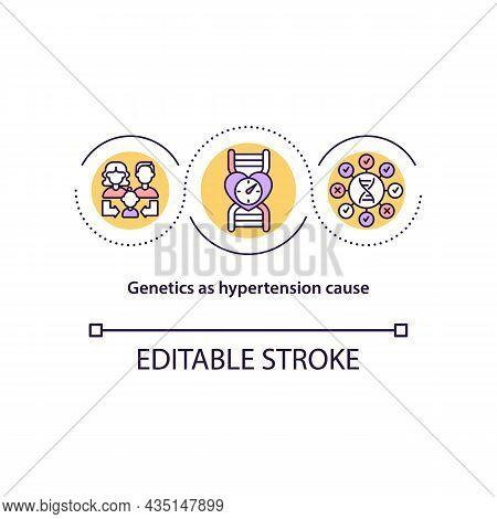 Genetics As Hypertension Cause Concept Icon. Gene Mutation Abstract Idea Thin Line Illustration. Hea