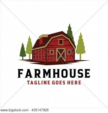 Farmhouse Logo Concept. Colored Template With Farm Landscape. Natural And Organic Products. Vector I