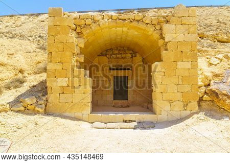 View Of A Burial Cave In The Ancient Nabataean City Of Avdat, Now A National Park, In The Negev Dese