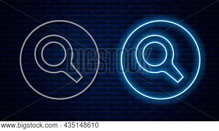Glowing Neon Line Magnifying Glass Icon Isolated On Brick Wall Background. Search, Focus, Zoom, Busi