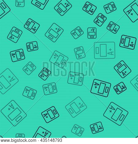 Black Line Exam Sheet With A Plus Grade Icon Isolated Seamless Pattern On Green Background. Test Pap