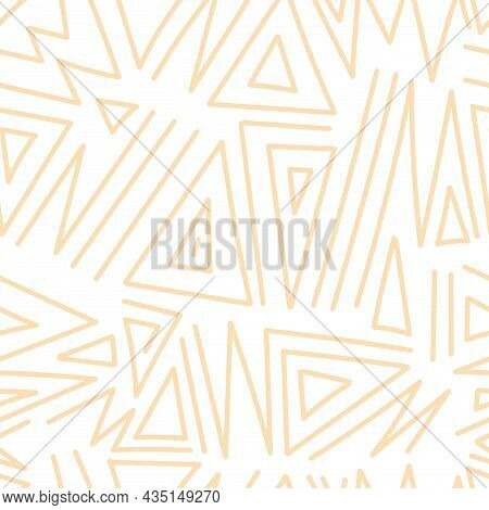 Seamless Abstract Black Pattern On White Background. Vector Doodle Image. Graphic Triangles  Ornamen