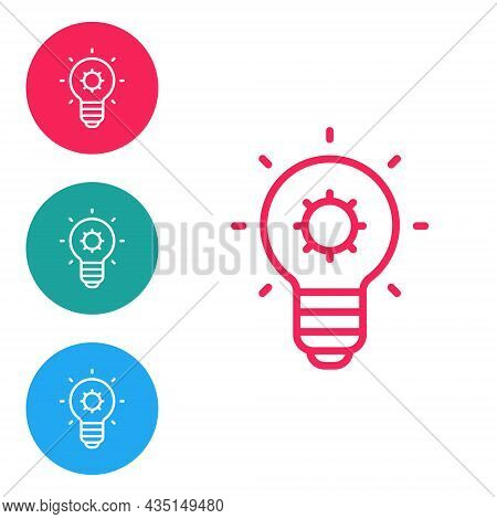 Red Line Light Bulb With Concept Of Idea Icon Isolated On White Background. Energy And Idea Symbol.