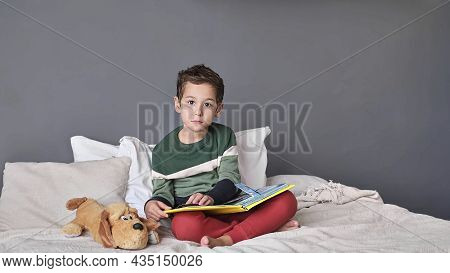 Cute Little Boy Reading Alphabet Book. Child Looks At Open Book. Homeschool Lesson. Concentrated Lit