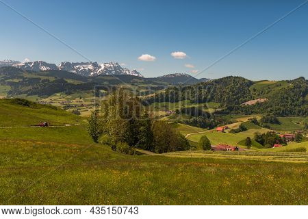 Idyllic Mountain Landscape In The Appenzellerland With View Of Mt. Saentis, Canton Of Appenzell, Swi