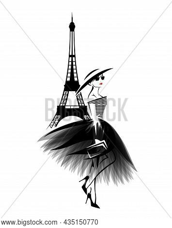 Vector Portrait Of Beautiful Glamorous Woman Wearing Stylish Clothes In Paris - Haute Couture Dress,