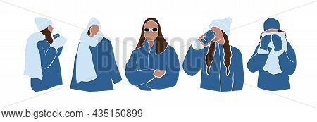 Set Of Abstract Faceless Women In Jackets, Hats And Scarf. Collection Female In Winter Stylish Outfi