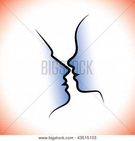 Man & Woman Pair, Kissing Each Other With Intimacy & Sensuality. The Graphic Represents Intimacy, Ro