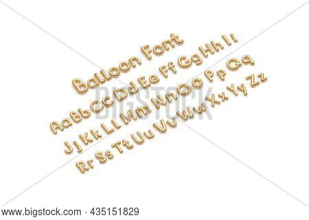 Inflated Gold Balloon Font With Capital And Lowercase Alphabet, Isolated, 3d Rendering. Mylar Matte