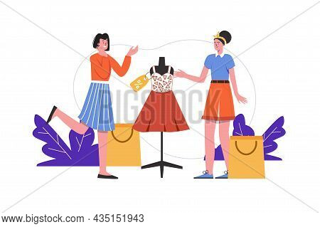 Women Buy Clothes In Store Together. Buyers Stand Near Fashionable Outfit Mannequin, People Scene Is