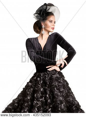 Elegant Woman In Black Dress And Hat With Veil. Glamour Old-fashioned Fashion Model Portrait With Cr