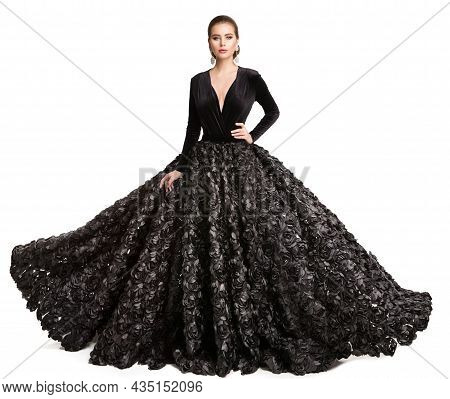 High Fashion Model In Long Black Wedding Dress. Woman In Evening Luxury Gown With Black Roses Lace.