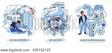 Nature Biodiversity Set Mother Earth, Climate Change Awareness Ecological. Climate Action, Forestati