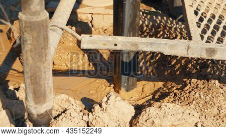 Water Well Drilling Rig, Drill Is Digging A Hole, Holes Boring In Ground With Drilling Rig Machine.