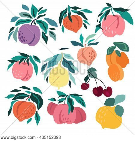 Modern Creative Fruit  Set  For  Summer Design.  Lemon, Pear, Peach, Apricot,  Plum,  Cherry, Raspbe