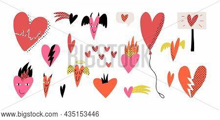 Valentines Day Pop Art Set. Various Hearts, Balloon, Broken, Demons And Angel With Wings, Tiny, Come