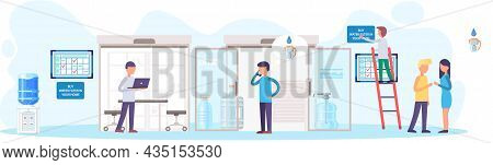 Sale Of Filtered Water, Business Concept, Manager In Office Take Orders From Customers For Delivery