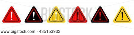 Collection Of Attention Caution Danger Sign. Exclamation Mark Sign. Triangular Warning Symbols Icon