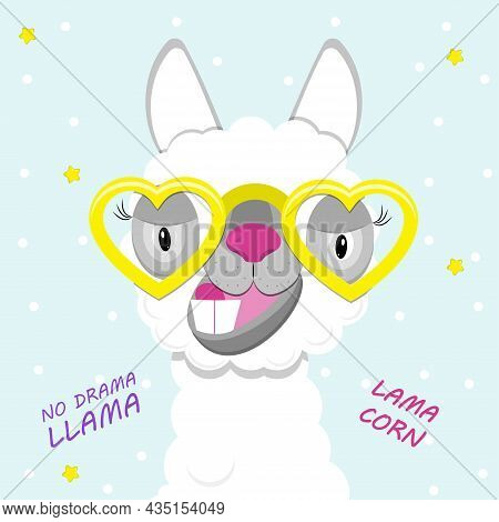 Funny Lama Alpaca Portrait On Blue Background. Flat Image Of Cute And Funny Animal.