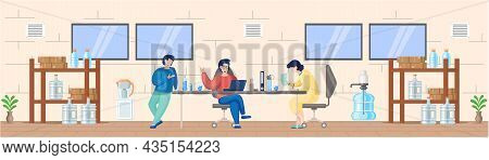 Group Of People Have Conversation And Drink Water, Office Cooler Chat. Businessmen And Businesswomen