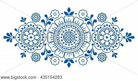 Floral Outline Vector Motif With Flowers And Leaves, Folk Art Decoration Inspired By Lace And Embroi