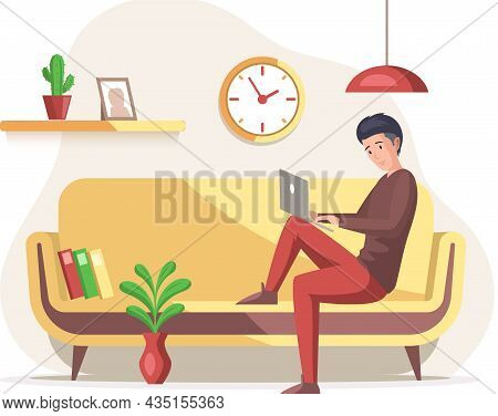 Man, Working Person Sitting In Room And Correspondence Surfing Internet. Male Character Communicatin