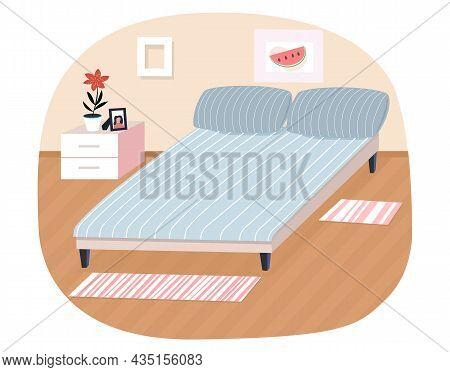 Bedroom Interior Design Flat Vector Restroom. Comfortable Bed And Commode. Arrangement Of Furniture,