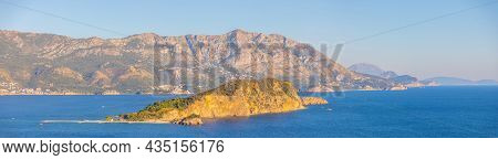 Aerial View Of Sveti Nikola Or St. Nicolas Island Is In Budva Riviera On Mountain Background, Monten