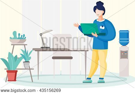 Young Business Woman Is Working On Laptop Computer. Secretary Employee In Office Workspace, Business