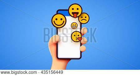 Hand Holding Phone Emoticons. Social Media And Messenger Chatting.