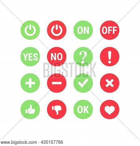 Colorful Red And Green Yes And No Button Set. Tick, Checkmark, Ok, Like Buttons.