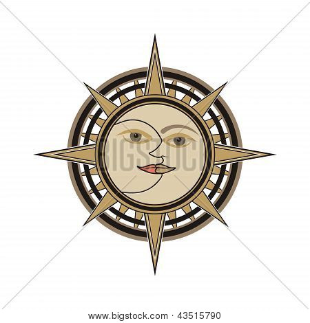 Sun and moon face traditional oriental india vector sign - day and night allegory isolated on white