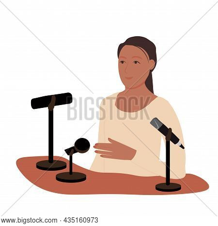 Female Motivational Speaker On Stage. Woman Presenter Standing At Podium With Giving A Speech. Succe